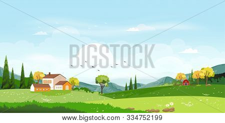 Vector, Illustration, Of, Beautiful, Spring, Field, Landscape, With, A, Dawn, Green, Hills, Farmhous