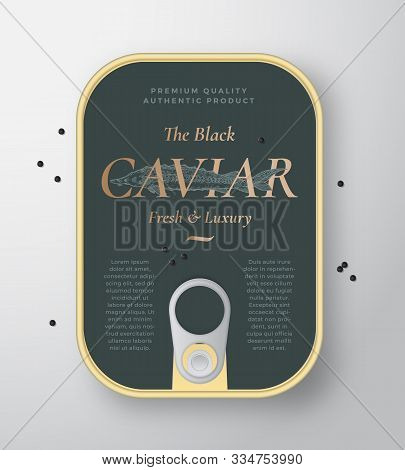 Black Caviar Seafood Vector Can Container With Label Cover Template. Hand Drawn Sturgeon Fish Illust