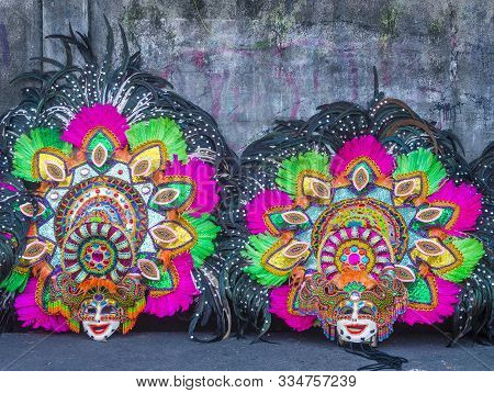 Bacolod , Philippines - Oct 28 : Colorfull Masks During The Masskara Festival In Bacolod Philippines