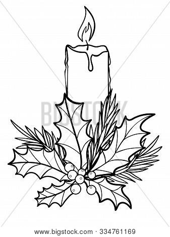 Candle. Christmas Burning, Wax Candle Decorated With Evergreens - Spruce, Holly. Fragrant Festive, T