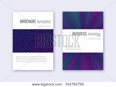 Minimalistic Cover Design Template Set. Neon Abstract Lines On Dark Blue Background. Enchanting Cove