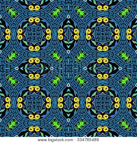 Colorful Intricate Vector Seamless Pattern. Greek Ethnic Style Floral Background. Geometric Repeat G