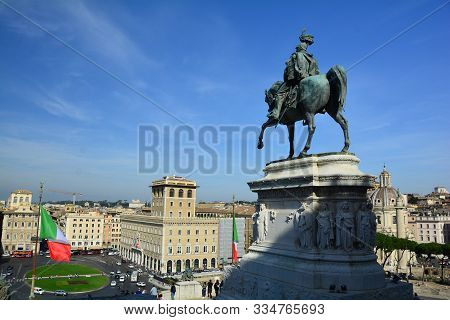 Rome Italy,october 28th 2019.a Statue Of Vittorio Emanuele On A Horse Sits Atop The Vittorio Emanuel