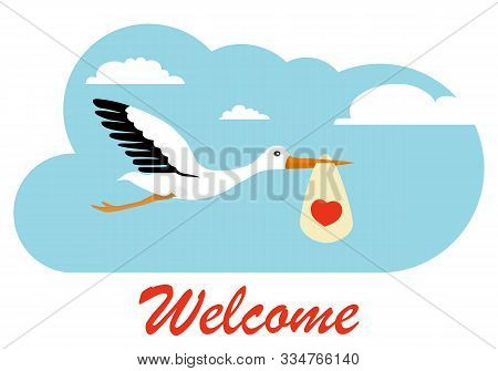 Stork Carries A Child In The Clouds. Stork With A Baby. Flat, Vector Illustration Of A Stork Carryin
