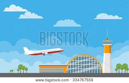Airport Building And Planes. Airport Terminal Building With Aircraft Taking Off. Airport Building An