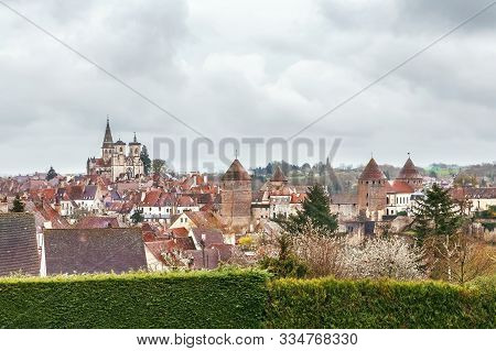 View Of The Old City Of Semur-en-auxois, France