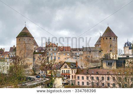 View Of Big Towers Of Castle In Semur-en-auxois, France