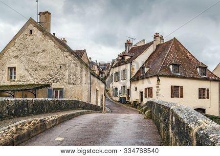 Old Stone Pinard Bridge In Semur-en-auxois, France