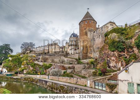View Of Semur-en-auxois From Armancon River, France