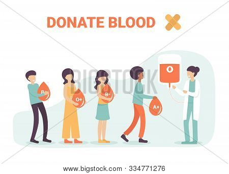Volunteers People Characters Hold Drops Og Blood For Donation And Help Sick People. Blood Types, Dif