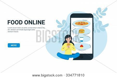 Happy Woman Eat Hamburger And Order Food Online Use App Store On Mobile Phone. Flat Vector Cartoon I