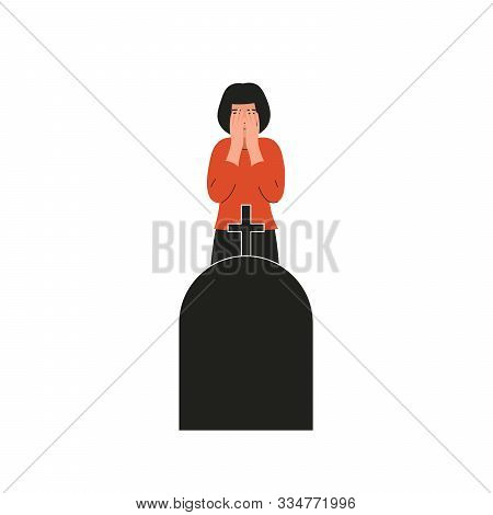 Woman Crying Over The Grave. Girl Covers Her Face And Cries. Sad Female Character, Bad Emotions, Sol