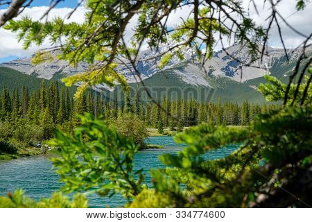 Forgetmenot Pond And Mountains In Beautiful Alberta, Canada