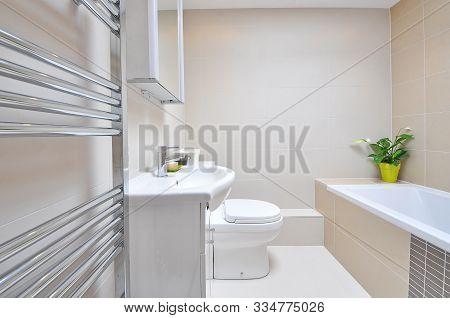 A 3d Rendering Of Light Bathroom Interior
