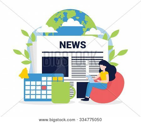 News Update, Online News, News Website, Newspaper. Flat Style Vector Illustration. Woman With Laptop