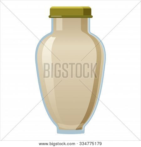 Glass Bottle Of Wasaby Sauce With Screw Cap. Vector Illustration Cartoon Style Isolated On White