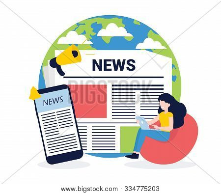 News Update, Online News, News Website, Newspaper. Flat Style Vector Illustration. Concept For Banne