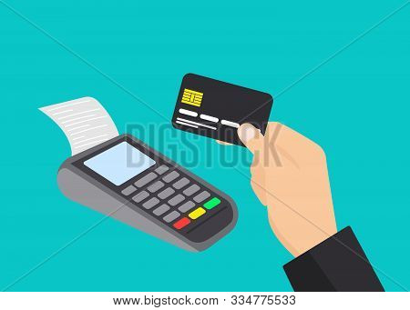 Payment Terminal And Male Hand Holding Credit Card. Pos Machine Illustration. Flat Vector Design Iso