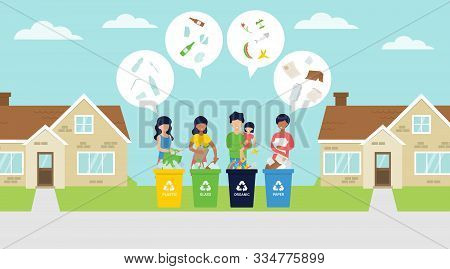 Waste Sorting Vector Illustration With People On The Street Segregate The Garbage In Bins. Zero Wast