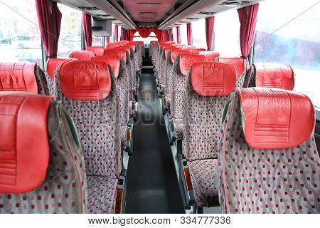 Interior Of New Modern Bus . Bus Seat Safety Belts . Seating In The Interior Of The Bus, Transportat