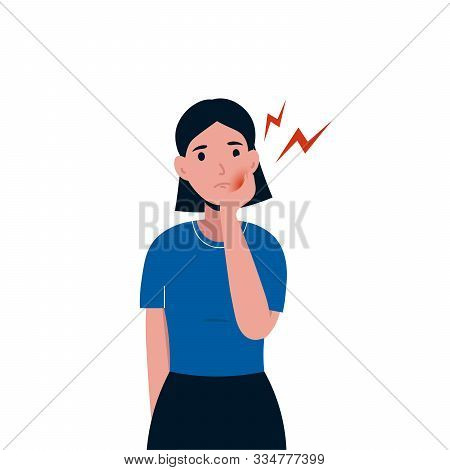 Sad Woman Patient Suffering From Toothache. Female Having A Strong Toothache. Severe Pain In The Tee