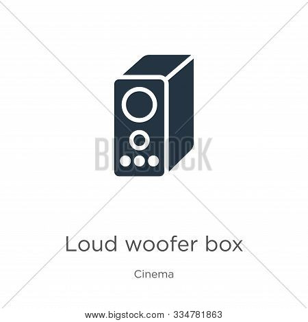 Loud Woofer Box Icon Vector. Trendy Flat Loud Woofer Box Icon From Cinema Collection Isolated On Whi