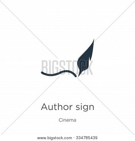 Author Sign Icon Vector. Trendy Flat Author Sign Icon From Cinema Collection Isolated On White Backg