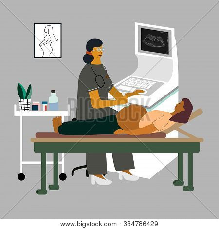 Pregnancy Ultrasound Examination. Doctor Or Gynecologist Monitoring And Examining A Pregnant Woman A