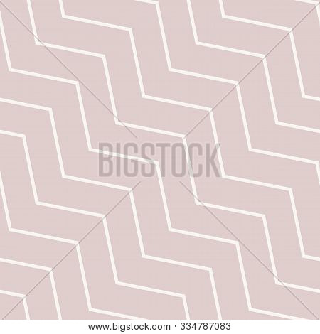 Subtle Vector Seamless Pattern With Diagonal Stripes, Thin Lines, Chevron, Zigzag. Simple Minimalist