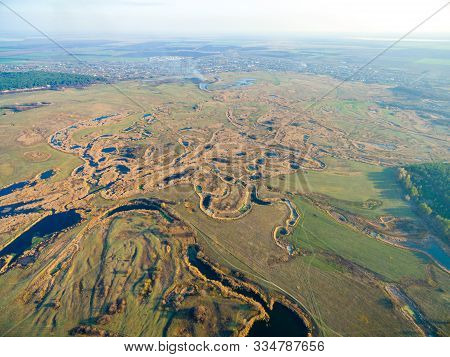 Aerial View To Autumn Forest And River Valley Of Seversky Donets, Kharkiv Region, Ukraine