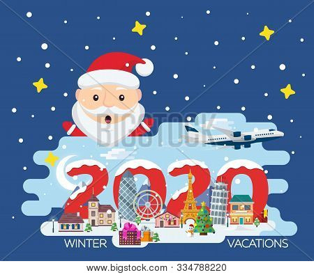Happy New Year 2020. Traveling In Time Of Vacation By Plane. Travel To Europe. Merry Christmas Banne