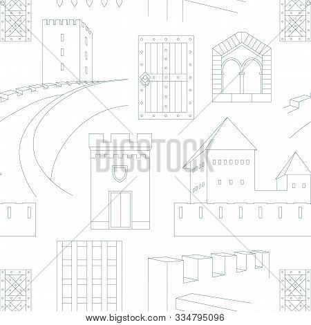 Seamless Pattern With Elements Of Medieval Castles On White Background. Can Be Used For Graphic Desi