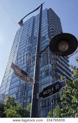 Vancouver, Canada - September 20, 2019: View Of Crossroad Signpost