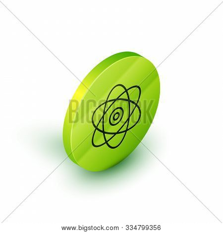 Isometric Line Atom Icon Isolated On White Background. Symbol Of Science, Education, Nuclear Physics