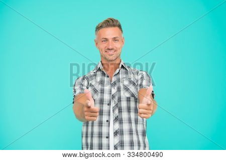 You Are Awesome. Man Mature Hipster Blue Background. Masculinity And Brutality. Guy Bristle Pointing