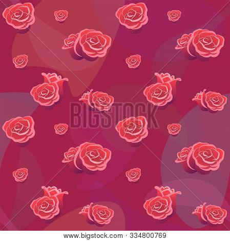 Roses Buds Seamless Pattern On Red Backdrop. Flower Background For Wallpaper Fabric Card Cover. Roma