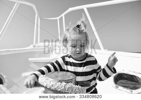 Collecting Memories. Entertainment Jobs. Baby Boy Enjoy Vacation Sea Cruise Ship. Child Sailor. Boy