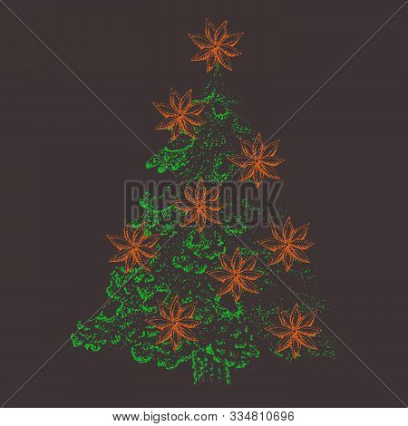 Cinnamon, Christmas Tree In Pointillism Technique With Liner.