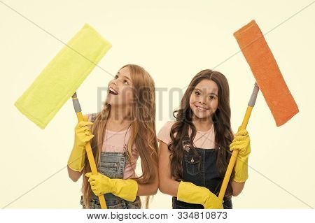 Overall Cleaning. Cheerful Small Cleaning Ladies. Cute Girls Holding Mops For Cleaning Floor. Little