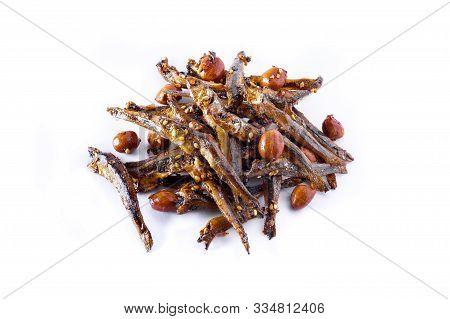 Tazukuri, Candied Sardines. Dried Sardines Lightly Coated With Honey, Roasted Sesame And Peanuts.