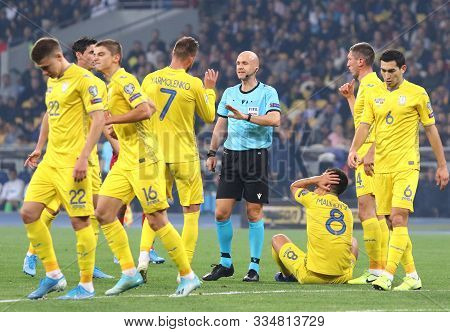 Kyiv, Ukraine - October 14, 2019: Referee Anthony Taylor (eng) In Action During The Uefa Euro 2020 Q