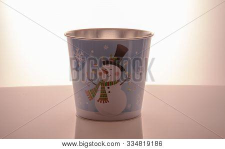 Metal Zink Christmas Buckets Snowman Blue Background