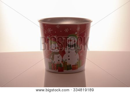 Metal Zink Christmas Buckets Snowmans Red Background