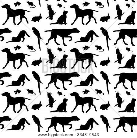 Vector Seamless Pattern Of Black Different Pets Silhouette Isolated On White Background
