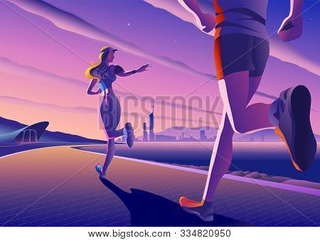 An Imaginary Vectoring Illustration Of Couples Jogging At A Bay-side Park In A Beautifully Quiet Mor