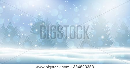 Holiday Winter Landscape With Snow And Winter Tree. Snowfall Against Christmas Background. Falling S