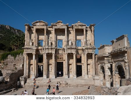 Ephesus, Turkey - September 21, 2019: The Library Of Celsus At Ephesus Turkey With Statues In Alcove
