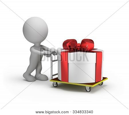 3d Man Rolls A Big Gift Box On A Trolley. 3d Image. White Background.