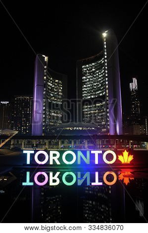 Toronto, Canada - March 25,2017: Toronto City Hall And Nathan Phillips Square At Night