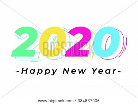 2020 Colorful Text Isolated On White Background, New Year 2020, 2020 Text For Calendar New Years, Ha